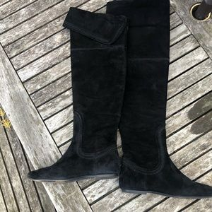 Cole Haan Black Suede Over-The-Knee Flat Boots